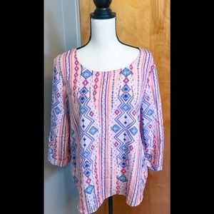 Wishful Park Aztec Print Blouse Size: Medium